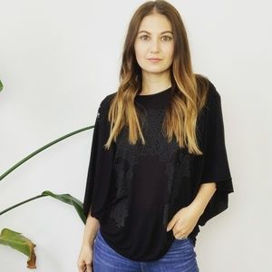 Free People Black Cut-Out Graphic Top